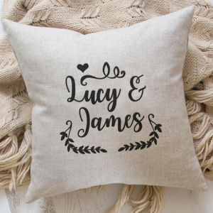 Personalised Cushion With Embroidered Names - bedroom