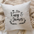 Personalised Cushion With Embroidered Names