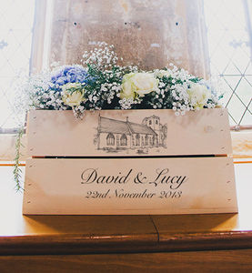 Personalised Wedding Illustration Crate - boxes, trunks & crates
