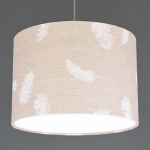 Boho White Feather Linen Drum Lampshade