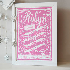 Personalised Ribbon New Baby Print - children's pictures & paintings