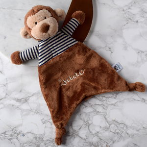 Personalised Striped Monkey Soother Blanket - blankets, comforters & throws