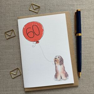 Personalised Bearded Collie Birthday Card