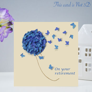 Blue Hydrangea Butterfly Retirement Card