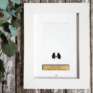 Penguin Love Couples Personalised Print - christmas posters & prints