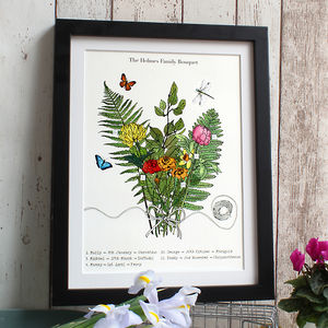 Botanical Birth Flower Bouquet Personalised - nursery pictures & prints