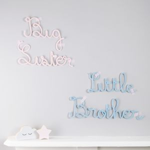 Brother And Sister Knitted Signs - children's room accessories