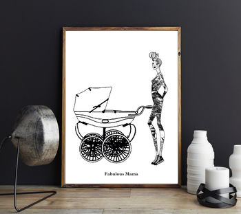 Fashion Illustration Fabulous Mama Wall Art Print