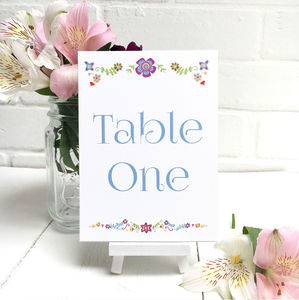 Floral Embroidery Table Number Or Name Cards - table decorations