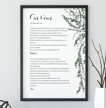 'Our Vows' Personalised Wedding Print
