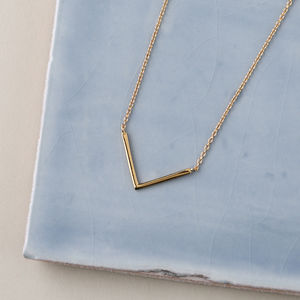 Gold Plated Clean V Pendant Necklace - contemporary jewellery