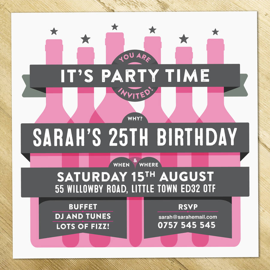 Personalised Birthday Party Invitations Wine Bottles