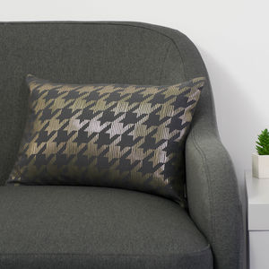 Metallic Dogtooth Cushion In Pewter Grey And Gold