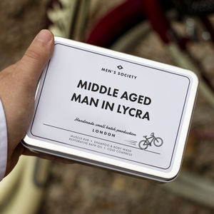 Middle Aged Man In Lycra Gift Set For Cyclists - gifts for cyclists