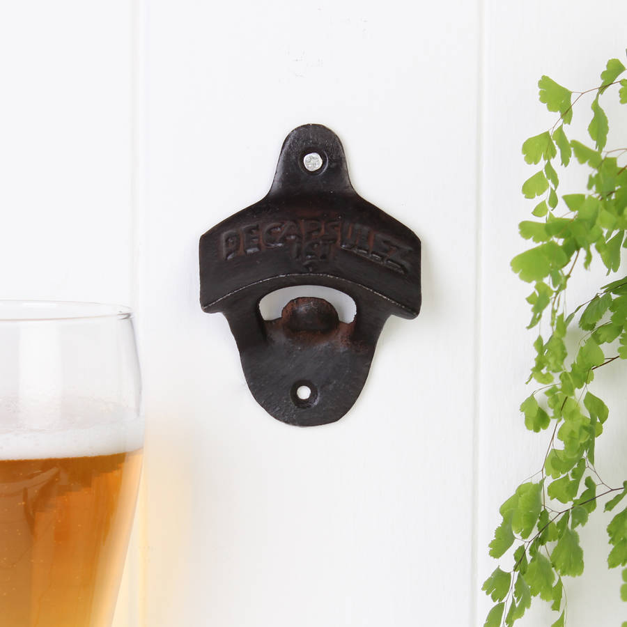 Cast Iron Wall Mounted Bottle Opener By Dibor