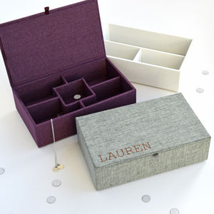 Personalised Fabric Jewellery Box - jewellery storage & trinket boxes