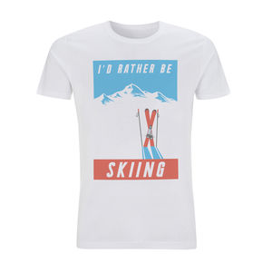 Mens Vintage Postcard Style I'd Rather Be Skiing Tshirt - winter sale