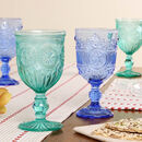 Set Of Four Coloured Glass Footed Wine Goblets
