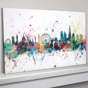 London Skyline Cityscape Paint Splashes Print - canvas prints & art