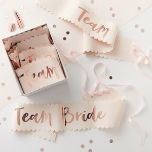 Six Pink And Rose Gold Team Bride Hen Party Sash