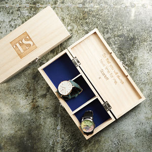 Monogram Personalised Wooden Watch Box - diaries, stationery & books
