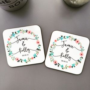 Personalised Wedding Floral Coasters - tableware