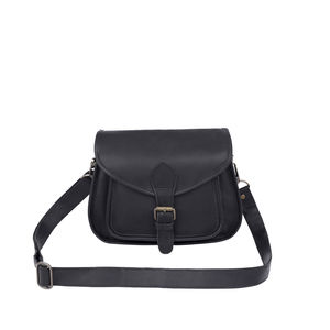Personalised Leather Classic Saddle Bag In Black