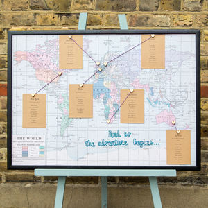 Embroidered Fabric World Map Wedding Table Plan - table plans
