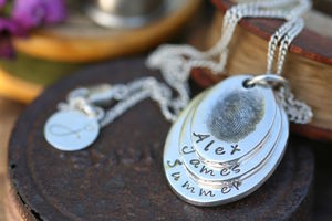 Fingerprint Oval Trio Necklace