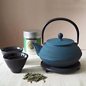 Tetsubin Cast Iron Teapot Set With Cups And Tea