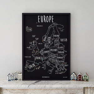 Personalised Europe Pinboard Map