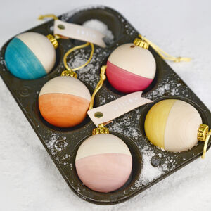Set Of Five Hollow Wooden Celebration Baubles