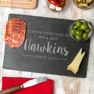 Couples Personalised 'Dining As' Slate Serving Platter - personalised