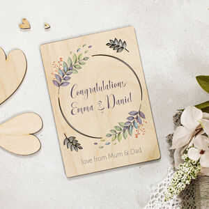 Personalised Congratulations Card In Wood