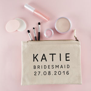 Personalised Bridesmaid Make Up Bag - more