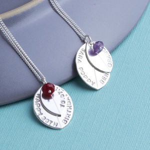 Birthstone And Personalised Leaf Silver Necklace