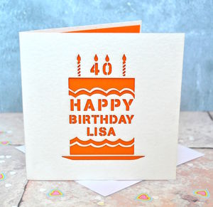 Personalised Laser Cut Birthday Cake Card