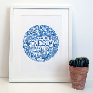 Sheffield Wednesday Football Club Typography Print - activities & sports