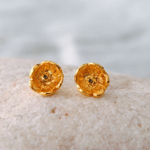 Gold Small Flower Stud Earrings - earrings