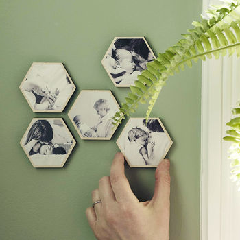 Personalised Photo Wooden Small Hexagon Wall Art Set