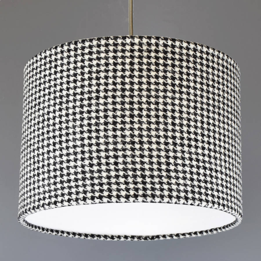 Black And White Dogtooth Harris Tweed Lampshade