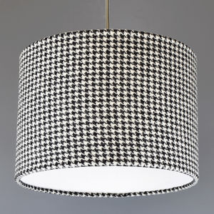 Black And White Dogtooth Harris Tweed Lampshade - bedroom