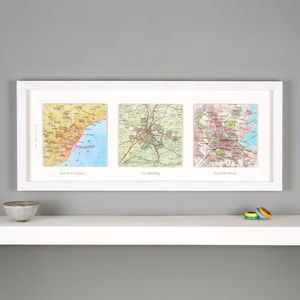 Three Map Location Squares Wedding Anniversary Print - personalised