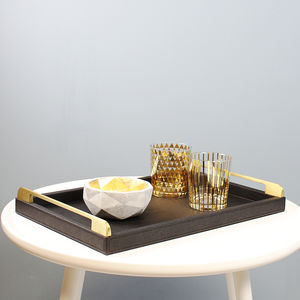 Black And Gold Croc Serving Tray