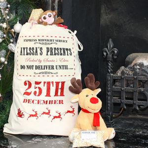 Large Personalised Christmas Glitter Sack - stockings & sacks