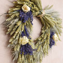 Rose And Lavender Heart Wheat Wreath