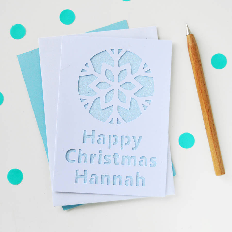 Personalised Snowflake Silhouette Glitter Cut Out Card