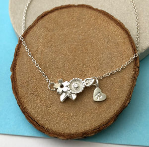 Flower Necklace With Initial Heart