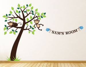 Personalised Monkey Tree Wall Stickers