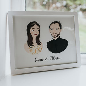 Bespoke Illustrated Portrait Couple Print - gifts for him